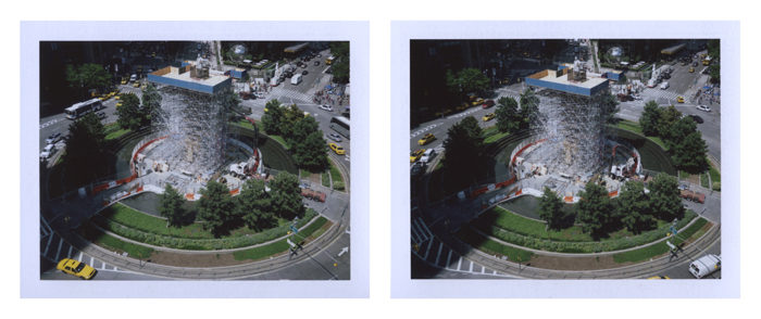 PETER LIVERSIDGE Columbus Circle , 2012 pair of unique Fuji FP-100C photographs image: 2 3/4 x 3 5/8 inches (7 x 9.2 cm) each Fuji: 3 1/4 x 4 1/4 inches (8.3 x 10.8 cm) each © Peter Liversidge Courtesy: Sean Kelly, New York