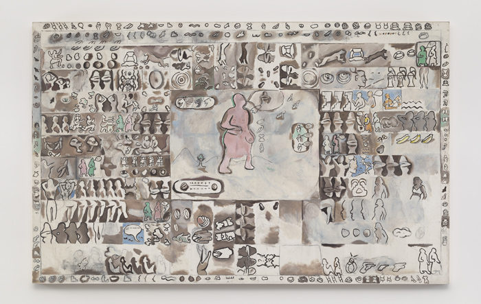 Suellen Rocca The Pink Creature on TV c. 1965 Oil on canvas 60 x 95 1/4 inches 152 x 242 cm