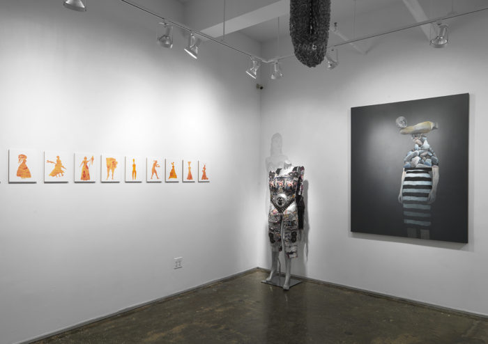 "Installation view of ""Celebrating Women with Overlap: Life Tapestries"" at A.I.R. Gallery curated by Vida Sabbaghi"