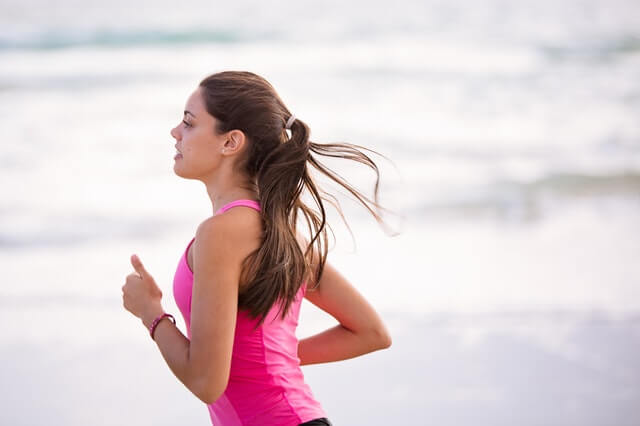 Woman runs after receiving anti-aging services.
