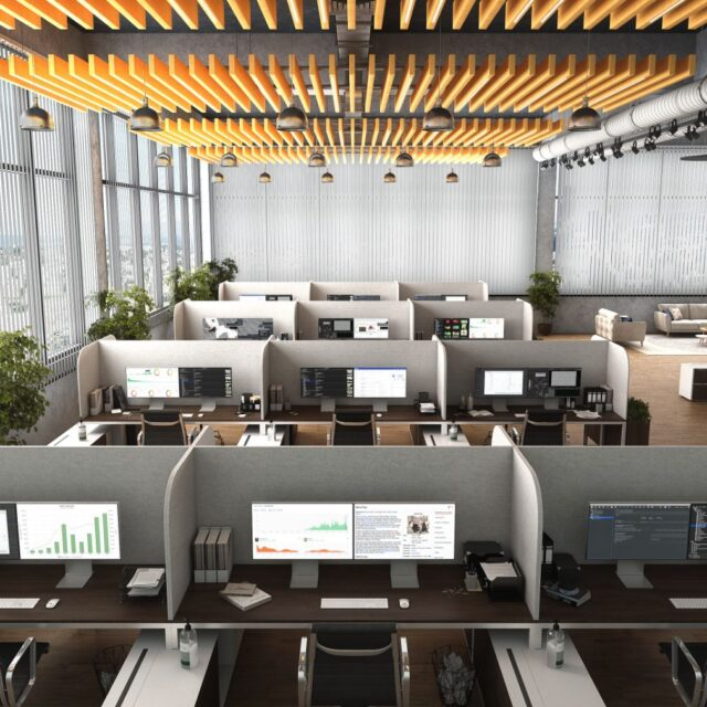 Acoufelt Desks with Dividers 4