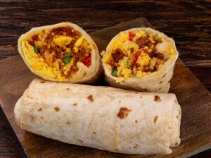 Burritos - Chorizo, Egg, Cheddar Cheese, Onion Red Green Peppers
