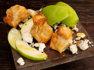 Phyllo Pouch - Apple, Gorgonzola & Leek