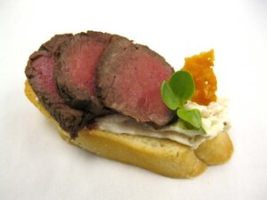 Beef - Espresso Seared on Garlic Crostini