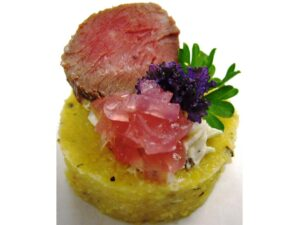 Beef - Seared Tenderloin with Onion Relish on Polenta Round