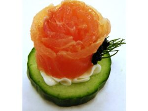 Gluten Free- Smoked Salmon Rose on Cucumber