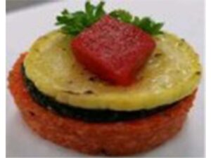 Vegan – Squash Napoleon on Red Pepper Polenta