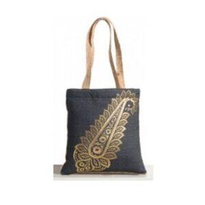 Swayam Paisley Petals Denim Jute Bag