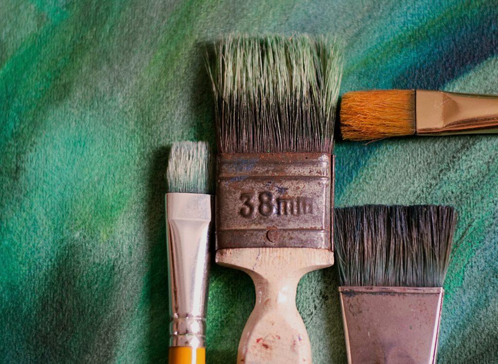 Petrified paint brushes