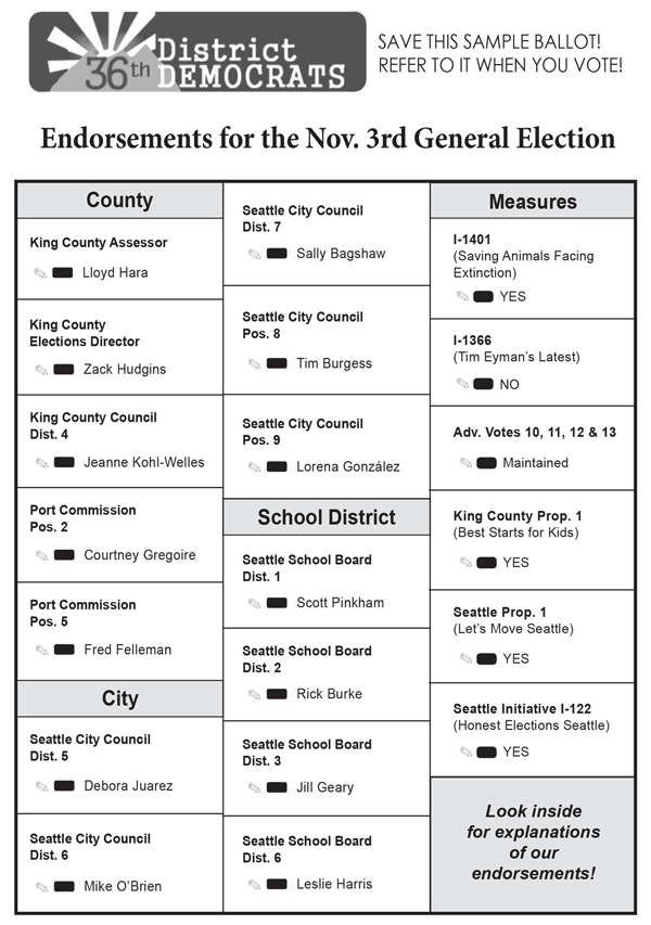 36th District Democrats 2015 Sample Ballot for the General Election