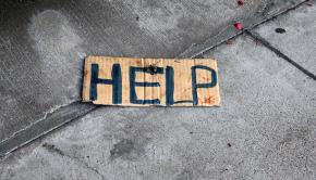 Help Cardboard Sign