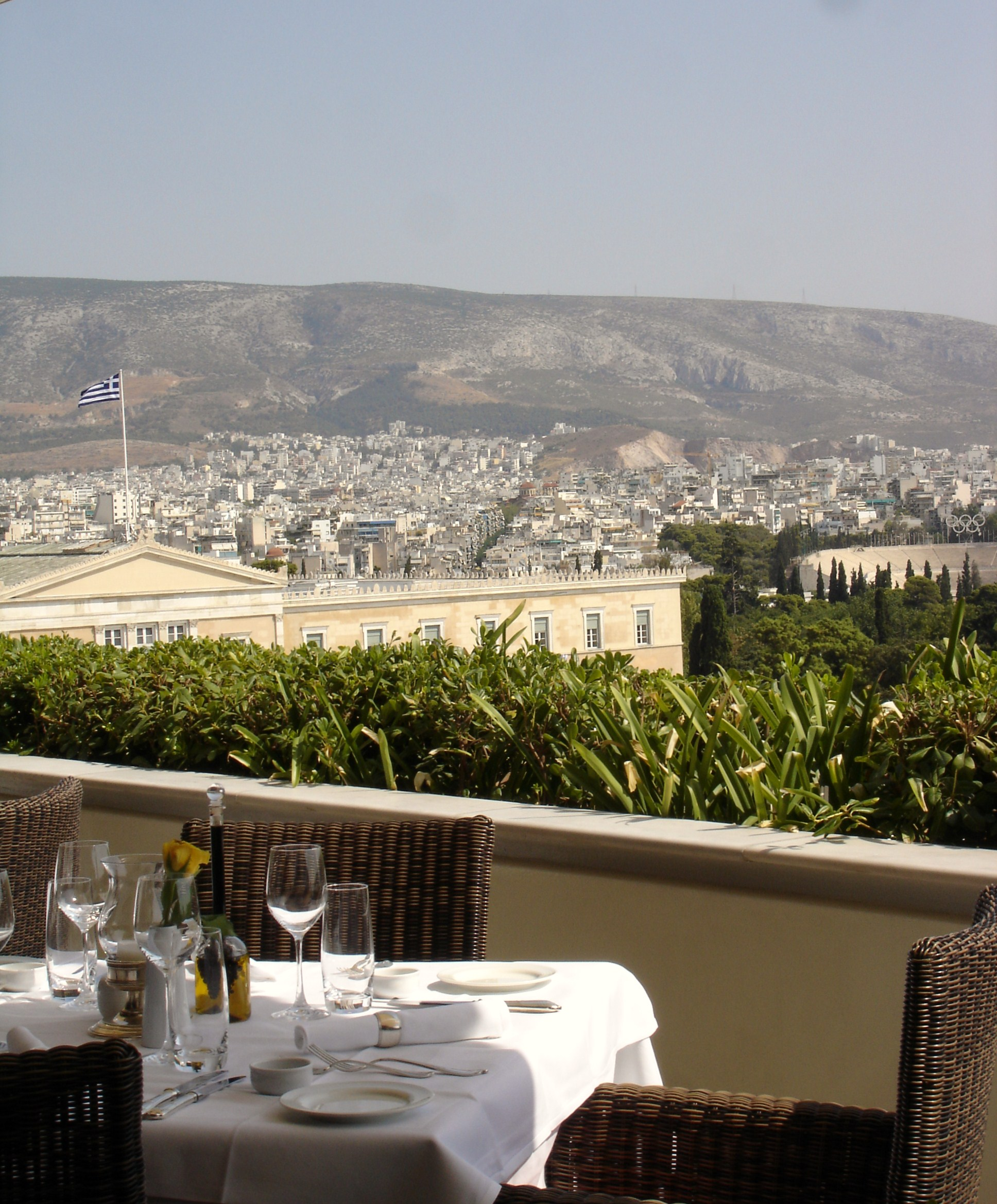 An afternoon ouzo on the Grande Bretagne rooftop
