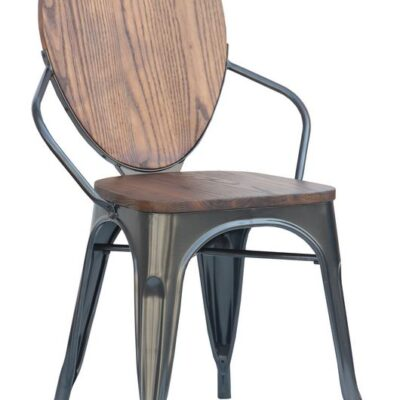 Elm and Metal Dining Chair