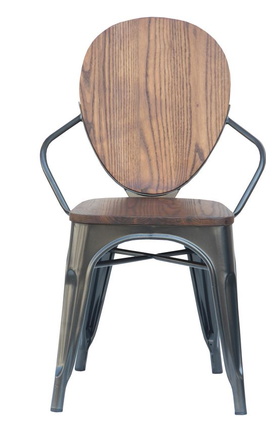 2400002Charcoal Mixed Material Dining Chair