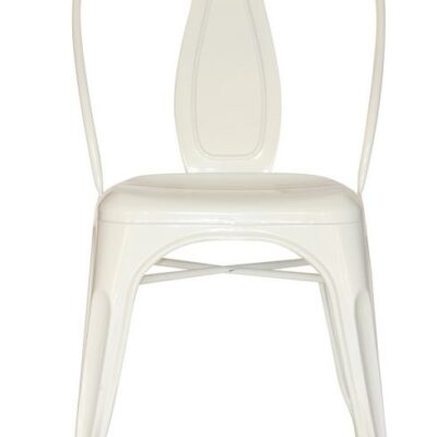 white steel industrial dining chair