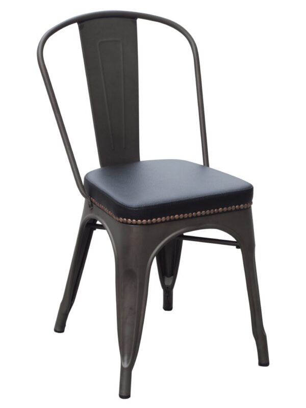 upholstered and steel dining chair