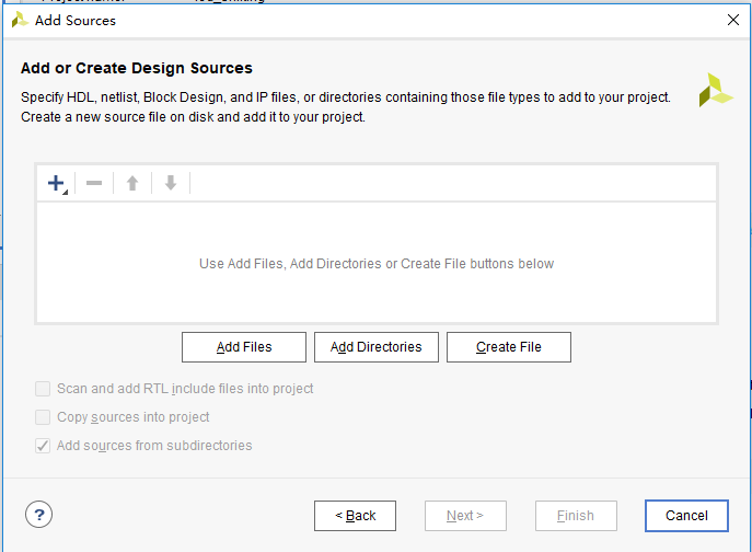 Add or Create Design Sources dialog box