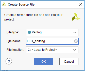 Create Source File dialog box