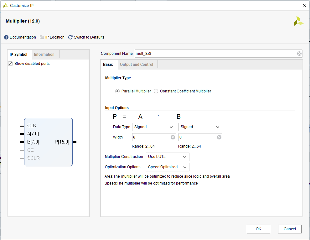 Multiplier input parameter settings