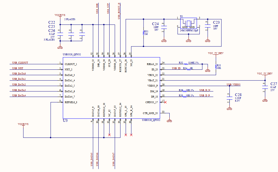 Schematic USB Transceiver Section