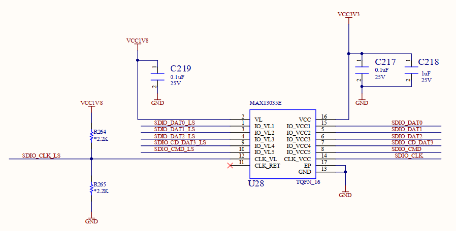Schematics of the voltage level shifting chip MAX13035E