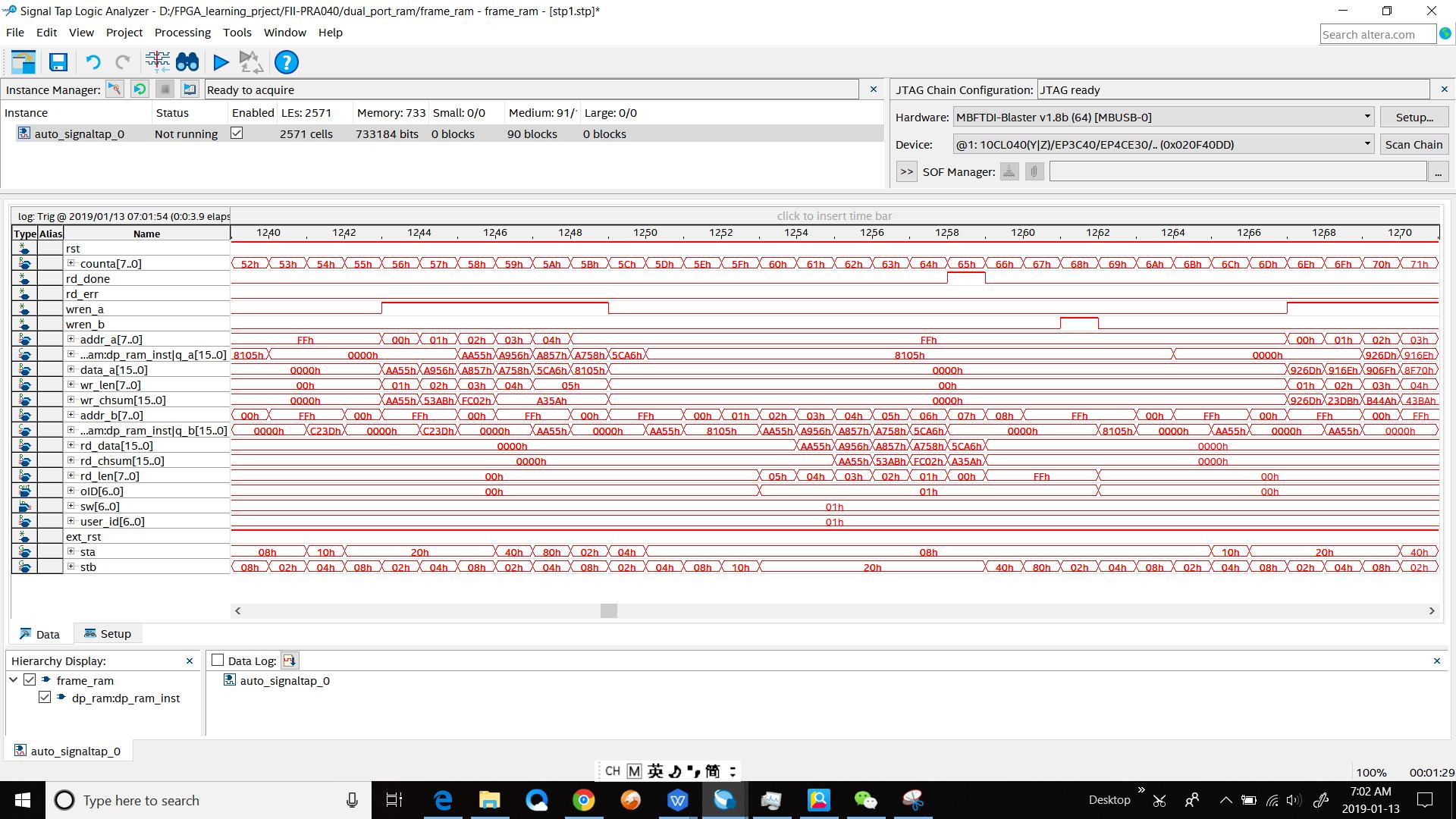 SignalTap II simulation