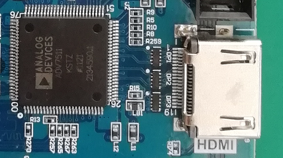 HDMI interface and ADV7511 chip physical photo