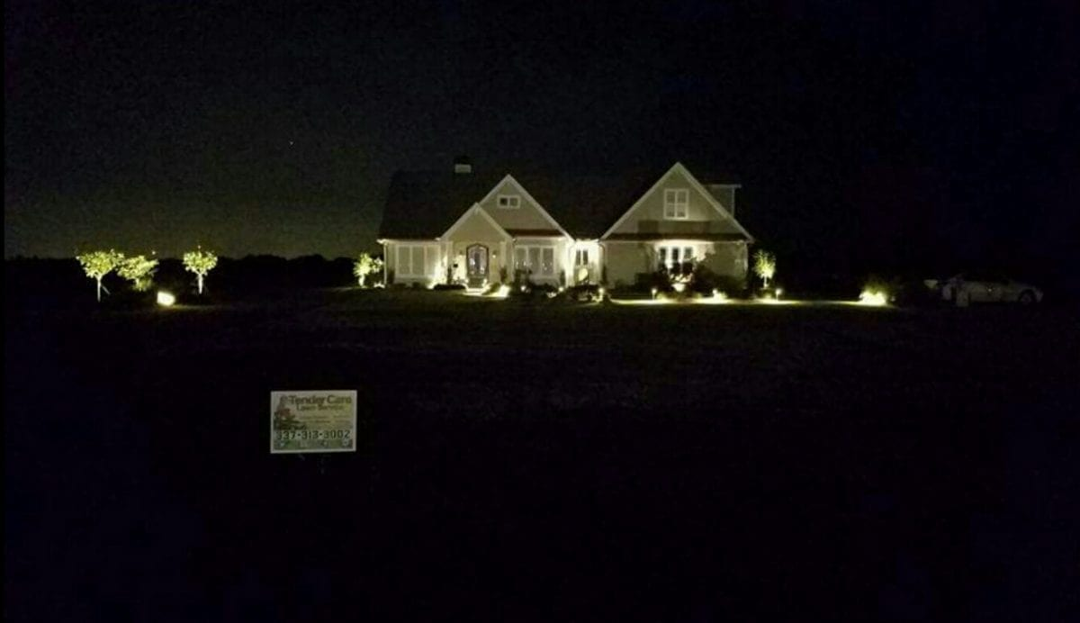 Professional Landscape Lighting by Tender Care's Lawn Care Services Team
