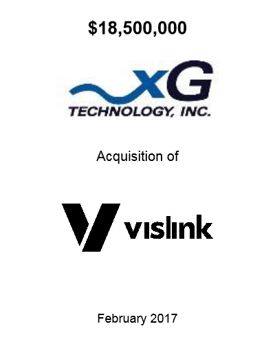 xGTI Acquiition of Vislink Feb 2017