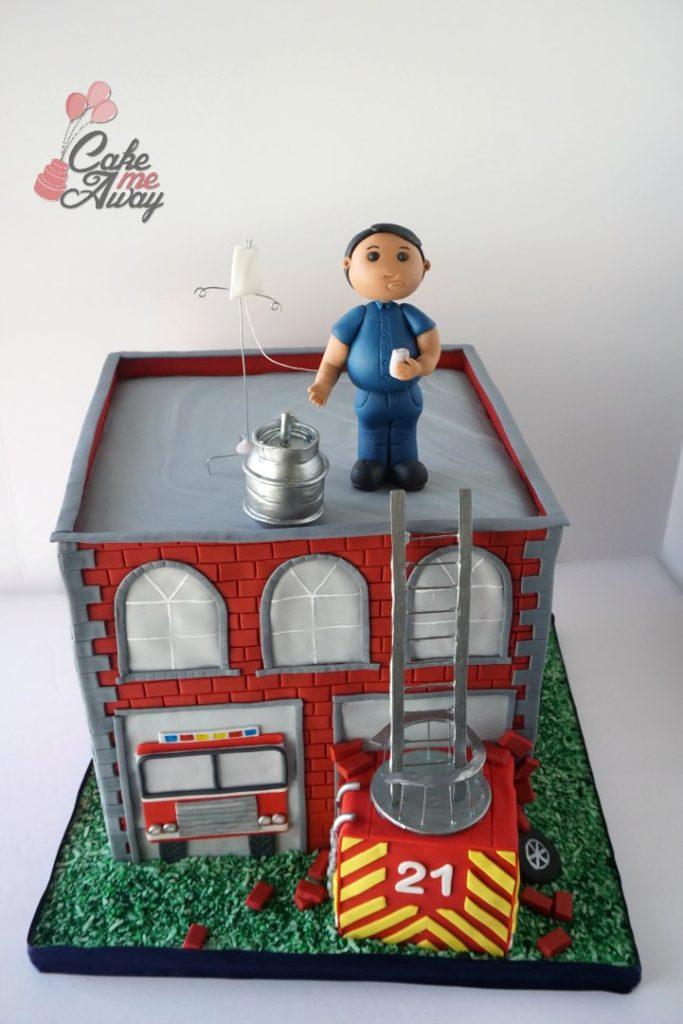 21 Drinking IV EMT Firefighter Birthday Cake