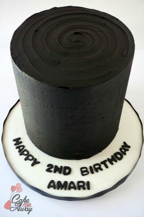 All Black Blackout Birthday Cake