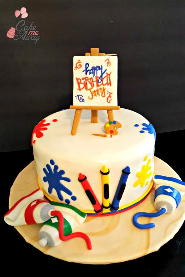 Art Teacher Easel Paint Cake