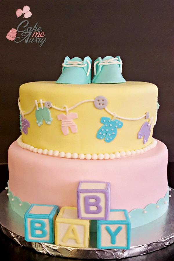 Baby Shower Pink Yellow Cake