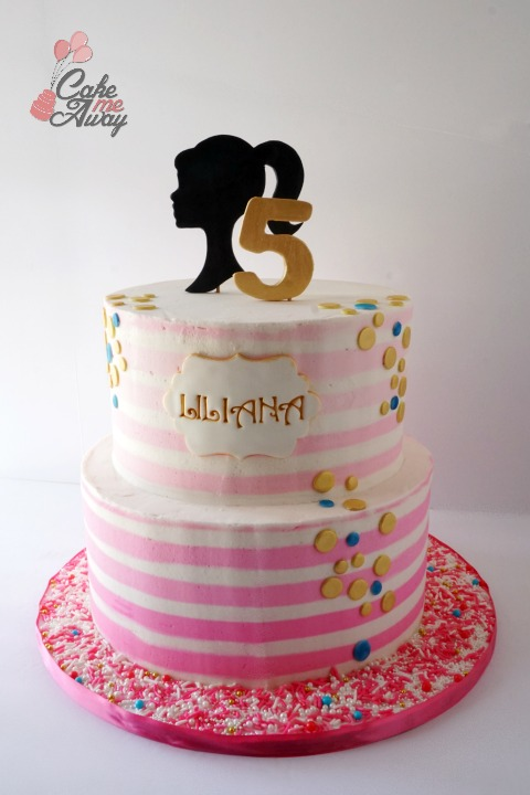 Barbie Silhouette Hot Pink Gold BLue Striped Birthday Cake