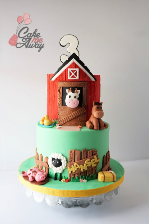 Barn Animals Cow Pig Horse Duck Birthday Cake