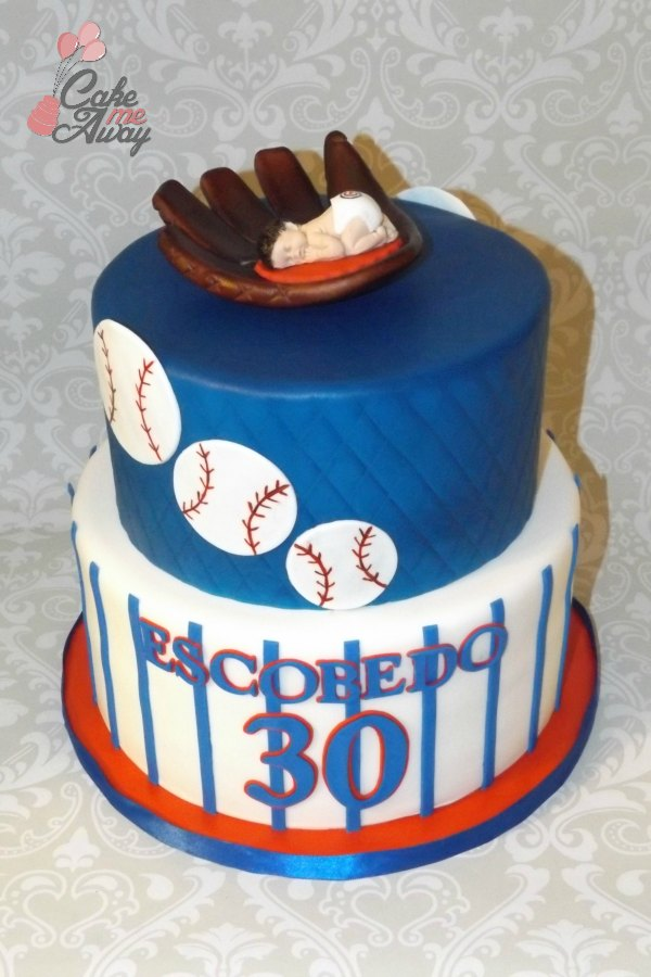 Baseball Blue Red Birthday Cake Dad to Be