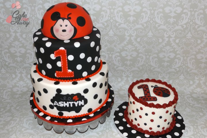 Black and White Polka Dots Ladybug Birthday and Smash Cake