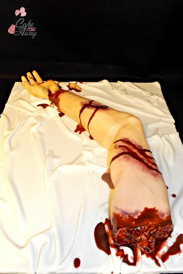 Bloody Severed Left Arm Hand Cake