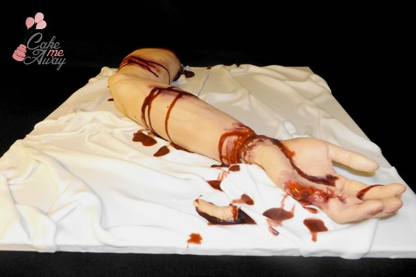Bloody Severed Left Hand Arm Cake