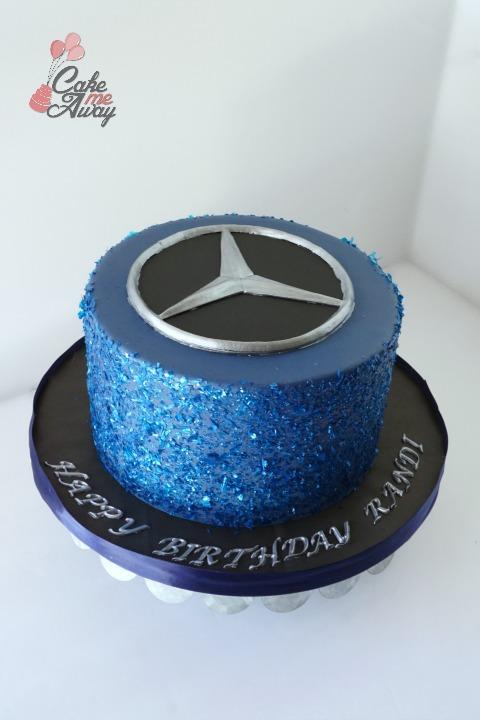 Blue Glitter Mercedes Benz Car Birthday Cake