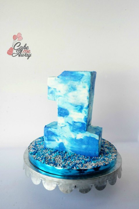 Blue White Spakle Number 1 One Smash Birthday Cake
