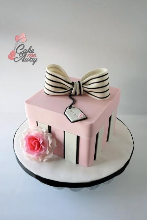 Blush Gift Box Rose Birthday Cake