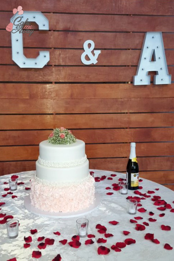 Blush and Ivory Pearl Wedding Cake