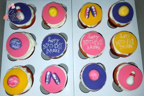 Bowling Pink Yellow Purple Birthday Cupcakes