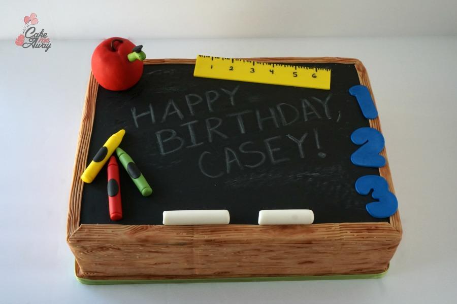 Chalkboard Teacher Graduation Apple Birthday Cake