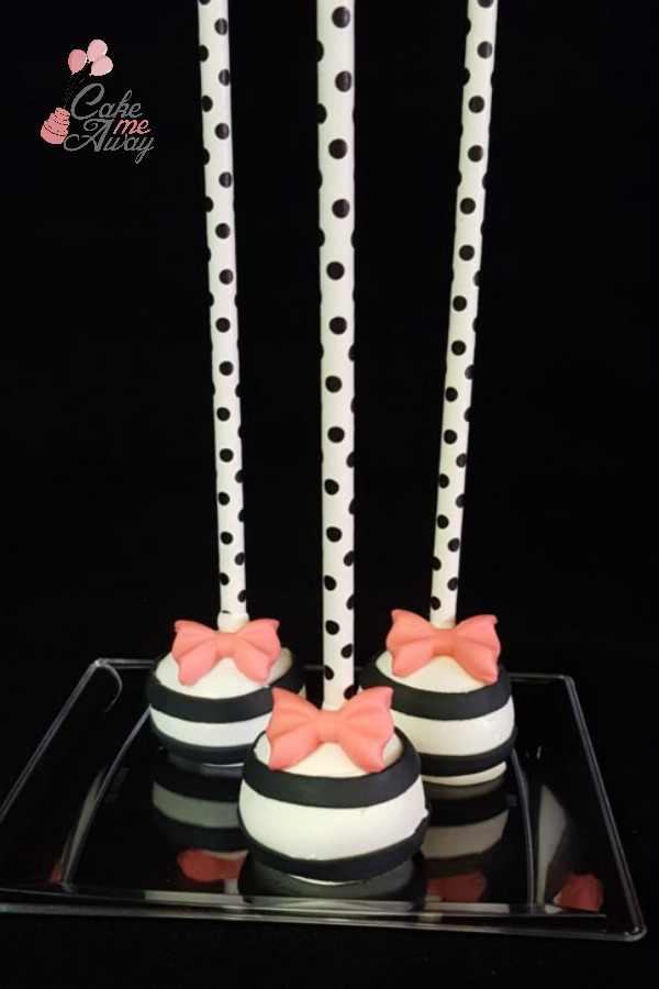Chic Black and White Striped Pink Bow Cake Pops