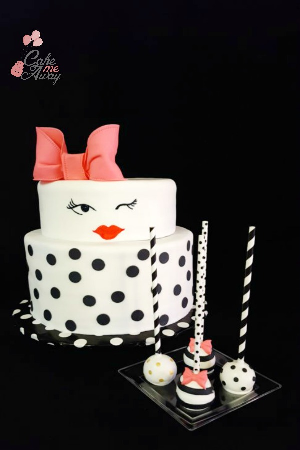 Chic Black and White Winking Bridal Shower Cake and Pops