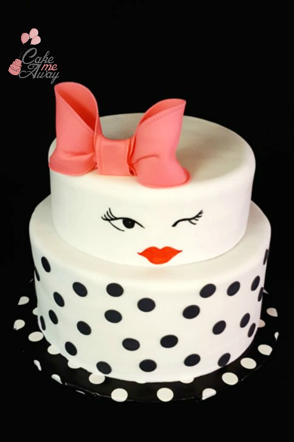Chic Black and White Winking Bridal Shower Cake