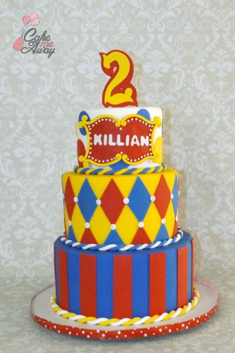 Circus Red Yellow Blue Birthday Cake