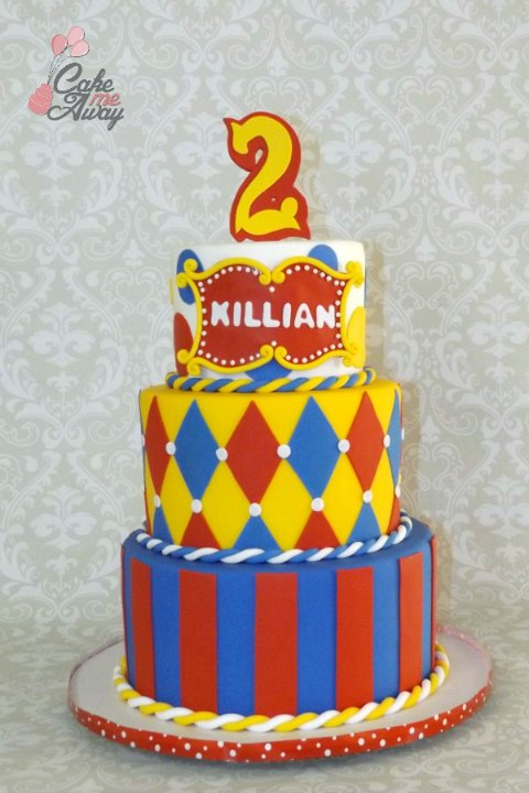 Circus Red Yellow Blue Birthday Cake